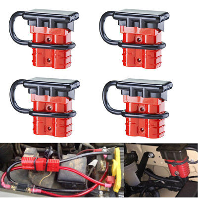 - 4x 50A Car 12V Battery Quick Connector Winch Power Cable Plug w/ Waterproof Caps