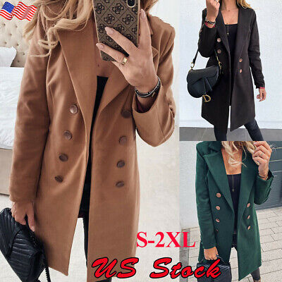 Womens Overcoat Woolen Trench Coat Blazer Ladies Winter Long Trench Jacket Coats