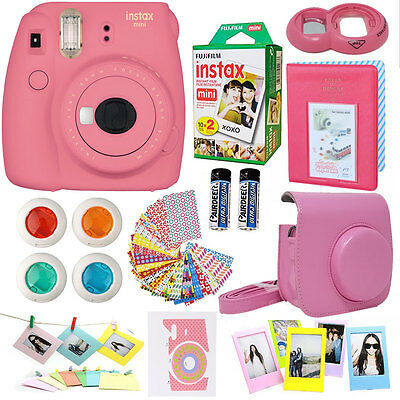 Fujifilm Mini 9 Instant Camera Flamingo Pink + 20 Film All in One Acc Bundle