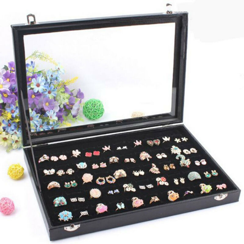 Jewellery - 100 Earring Ring Jewellery Display Storage Box Tray Show Case Organiser Holder
