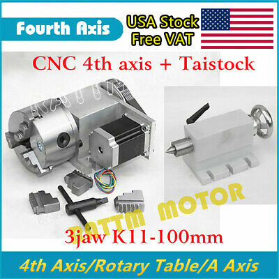 Rotary Table 4th Axis 3 Jaw K11-100mm Chucktailstock For Diy Cnc Machineusa