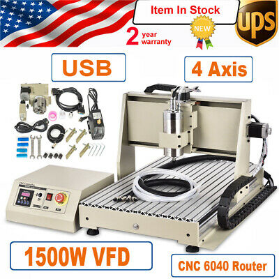 1.5kw Usb 4 Axis Cnc 6040 Router Engraver Machine Mill 1500w Vfd Spindle Motor