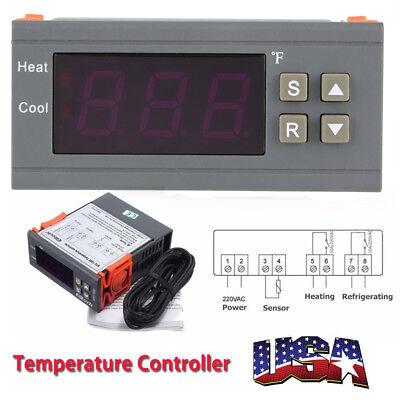 Ac220v Digital Fahrenheit Temperature Controller Thermostat Control -58248us