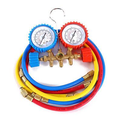 R134a R12 R22 R502 Manifold Gauge Set HVAC AC Refrigerant W/ 3 Charging Hoses