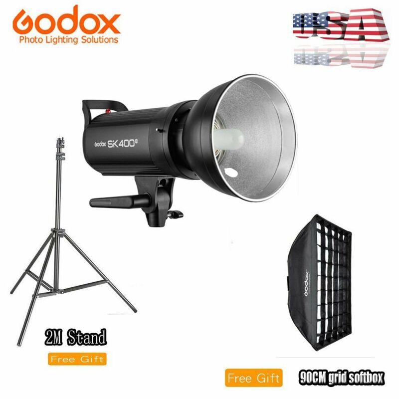 US Godox SK400II 400w 2.4G Studio Flash Light +90cm Grid softbox + 2m Stand Kit