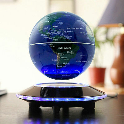 "6""Magnetic Levitation Decoration Maglev Levitating Floating Globe World Map Blue"