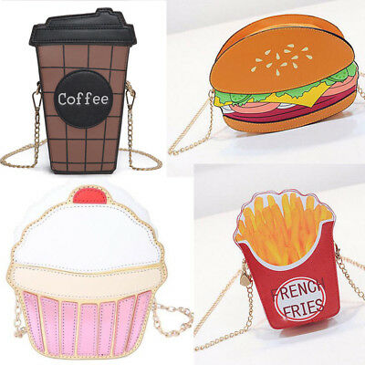 3D Purse Coffee Hamburger Cupcake Popcorn Unicorn Shoulder Bag Messenger Handbag