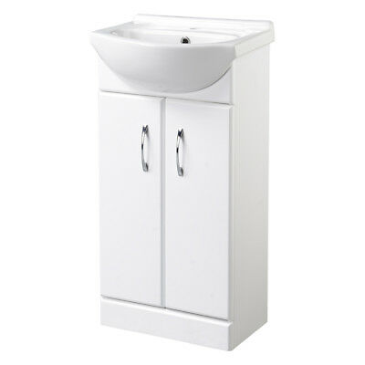 Gloss White 450mm Bathroom Vanity Storage Cabinet Basin Sink Unit Two Door