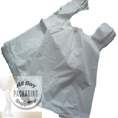 100 WHITE POLYTHENE VEST CARRIER SHOPPING BAGS SIZE 11 X 17 X 21