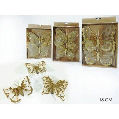 Farfalla in oro decorazioni per addobbi albero di natale 2pz negozi vetrine casa