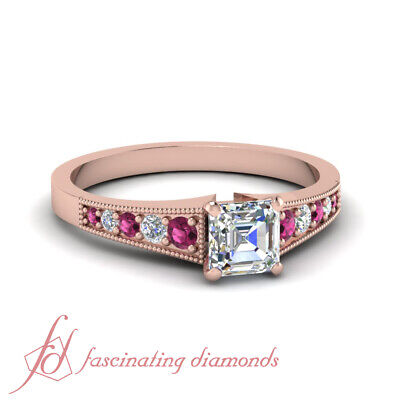 Graduated Round Engagement Ring With 1/2 Carat Asscher Cut Diamond GIA Certified