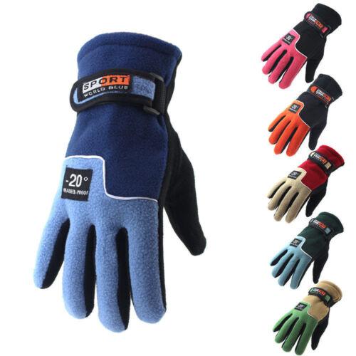 Men Women's Thermal Fleece Lined Gloves Winter Hiking Walking Jogging Running