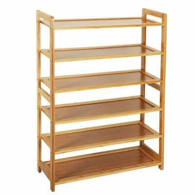 New Home 6 Tier Wood Shoes Cabinet Bamboo Dust-proof Racks Shelves Organisers US