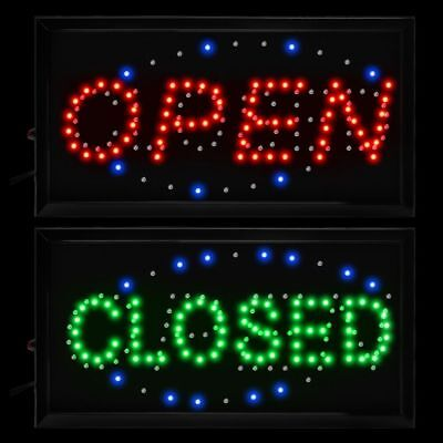 "19x10"" Flashing LED Neon Light Business Sign OPEN CLOSE 2 in 1 Display Cafe Bar"