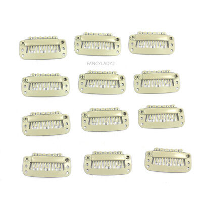 12pcs Wig Snap Metal Hair Clips For Wigs/Hair Extensions 32mm Beige US Stock