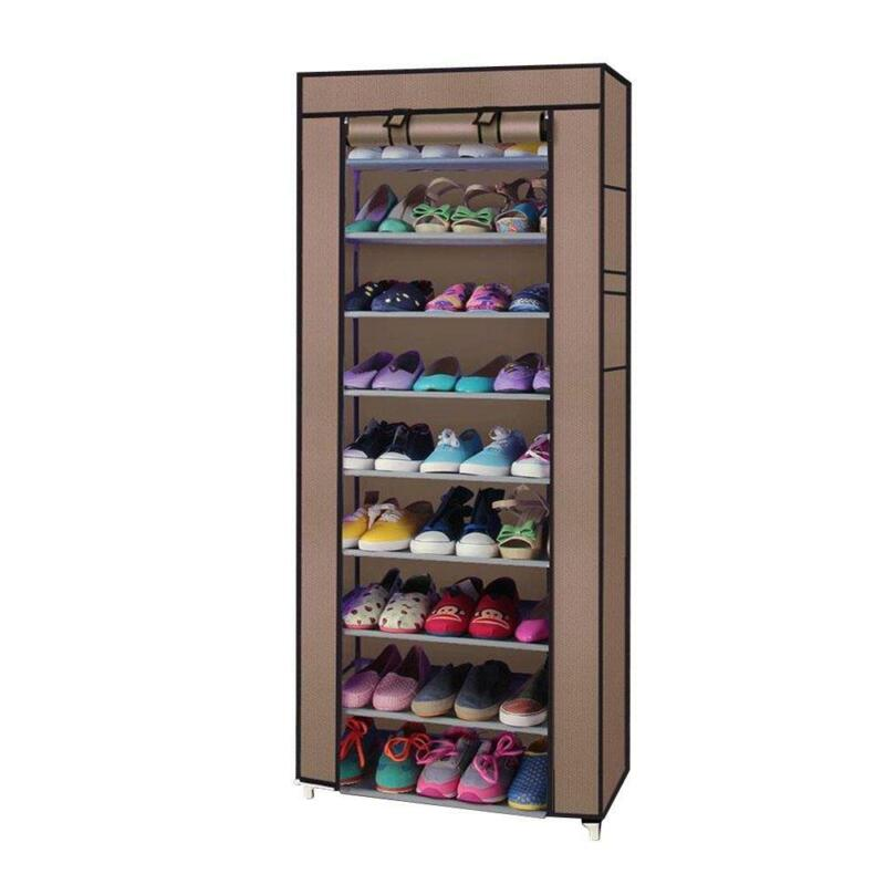 Portable 10 Tier Shoe Rack Shelves Storage Closet Home Holder Cabinet with Cover