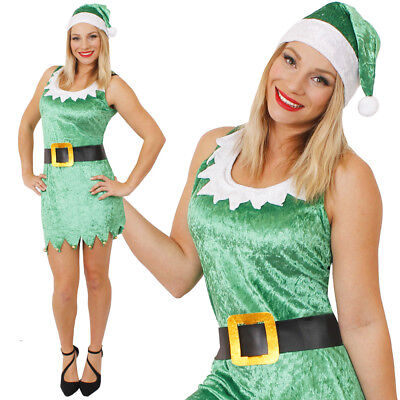 SEXY ELF COSTUME LADIES CHRISTMAS FANCY DRESS ADULT WOMENS XMAS PARTY OUTFIT  (Lady Elf Costume)