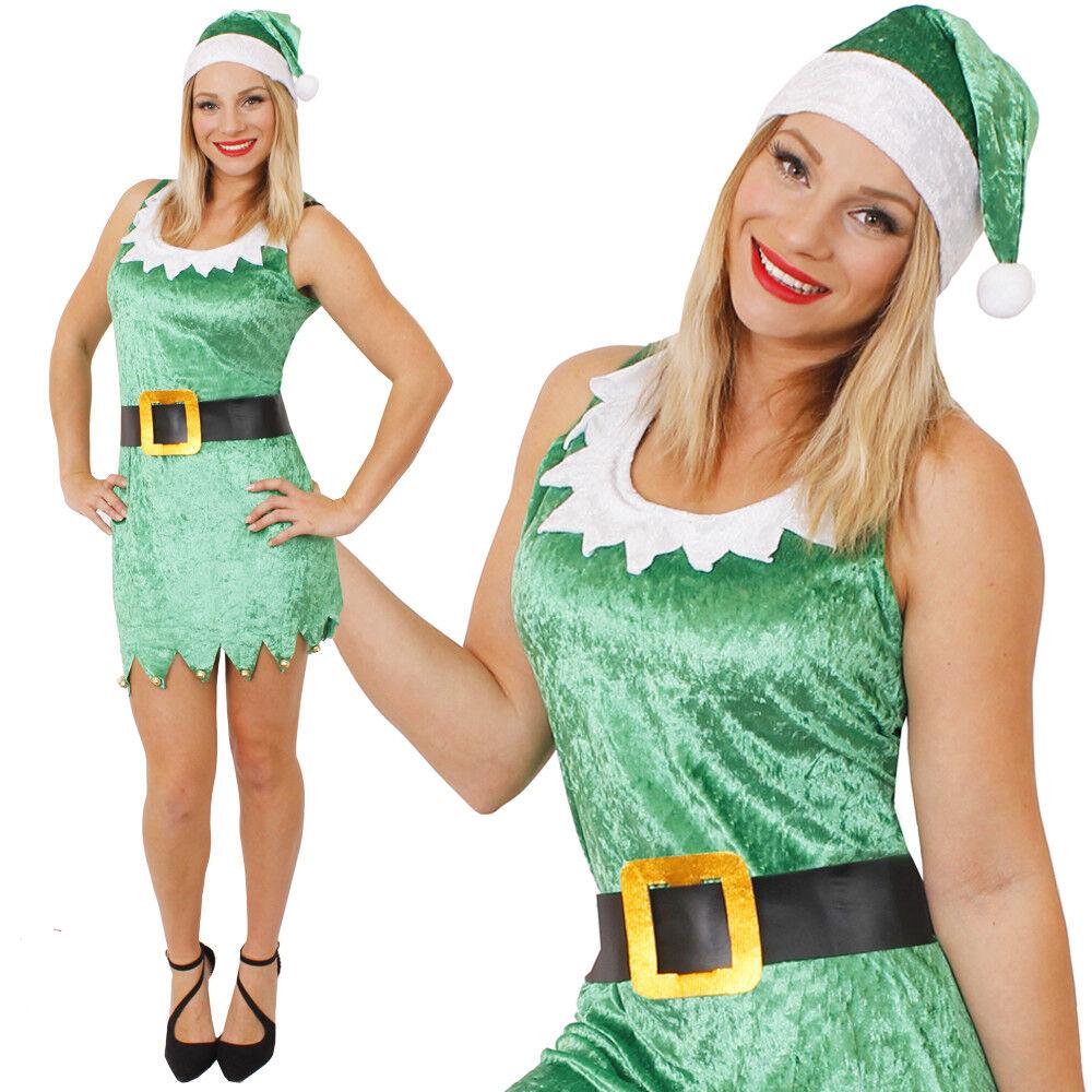 Femme Noël Elf Santas Little Helper Fancy Dress Costume Tenue de fête