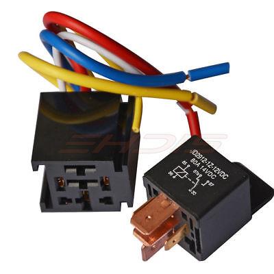 (80A Auto Relay 12V/24V Switch 5-Pin & Wire Socket Holder Heavy Duty Car Relay)