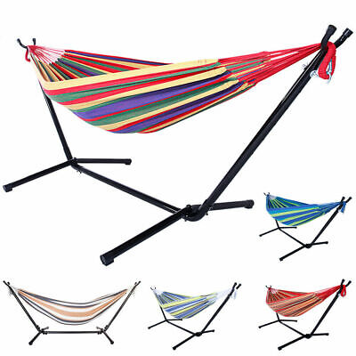 Double Hammock Bed with Steel Stand Camping Bed Garden Outdoor Swing Chair w/Bag Cotton Bed Bag