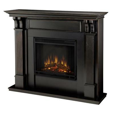 "Real Flame 48"" Ashley Electric Fireplace, Medium in Blackwash Finish, 7100E-BW"