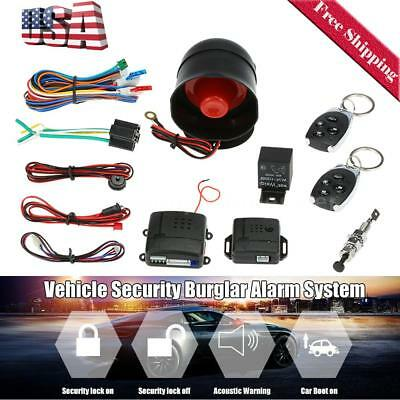 Car Auto Burglar Alarm Keyless Entry Protection Security System 2 Remote R3D6