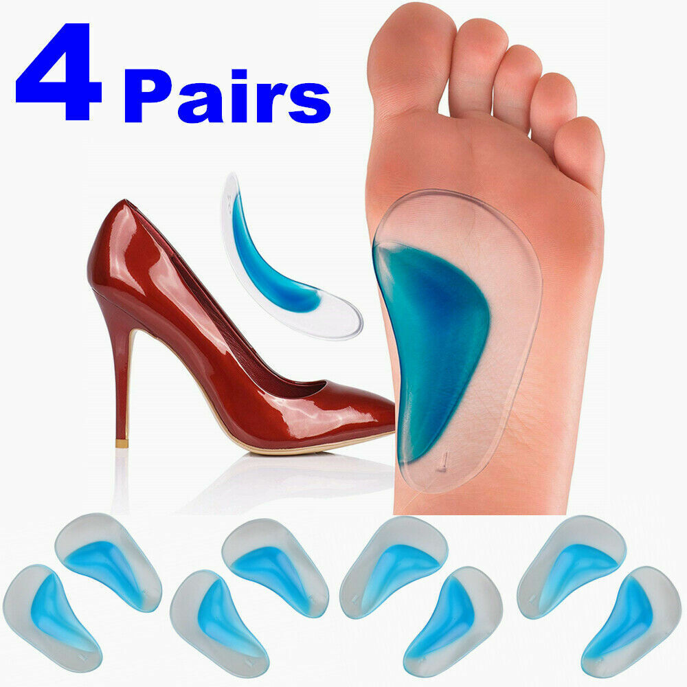 4 Pairs Silicone Orthopedic Gel Arch Support Insoles Pads Sh