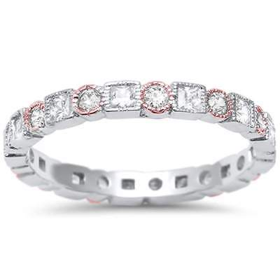 Two Tone Antique Style Bezel Set Eternity Band .925 Sterling Silver Ring Bezel Two Tone Ring