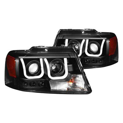 For Ford F-150 2004-2008 Anzo 111288 Black U-Bar Projector Headlights w LED DRL