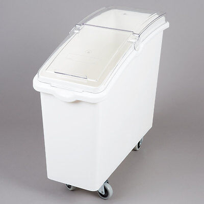 21 Gallon White Plastic Mobile Nsf Ingredient Storage Bin With Lid