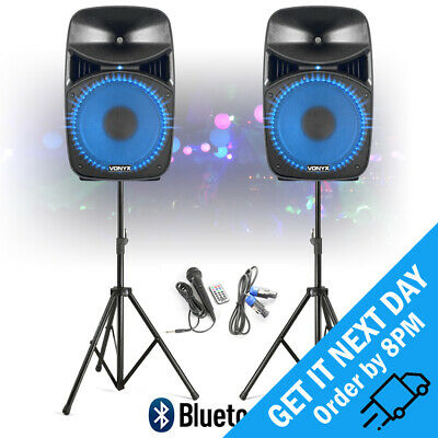"Vonyx VPS152A 15"" LED Bluetooth Powered Speaker Pair DJ PA with Stands 1000W"