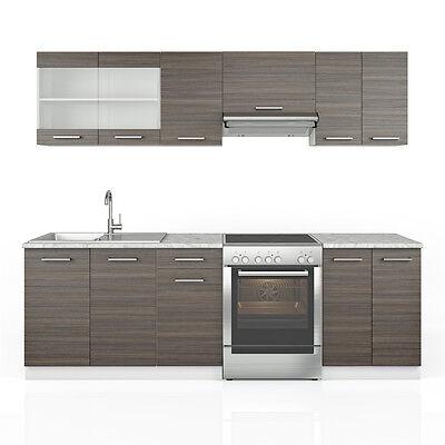 k chenzeile 240 cm 7 module k che k chenblock grau einbauk che edelgrau. Black Bedroom Furniture Sets. Home Design Ideas