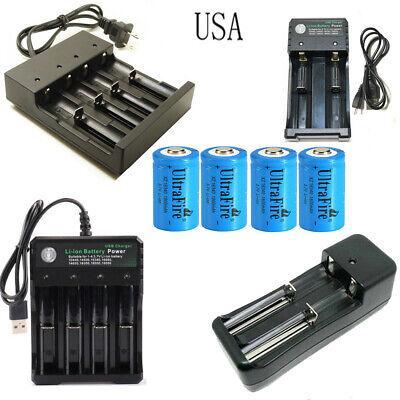 USA 16340 Battery 1800mAh CR123A Rechargeable 3.7V Li-ion with charger 1800mah Li Ion Battery