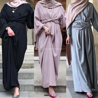Abaya Dubai Muslim Womens Eid Lace Up Cardigan Islamic Long Maxi Dress Robes