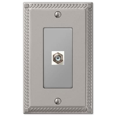 1 Coax Wall Plate Coaxial Cable Electrical Box Cover Decorative Room Home Nickel