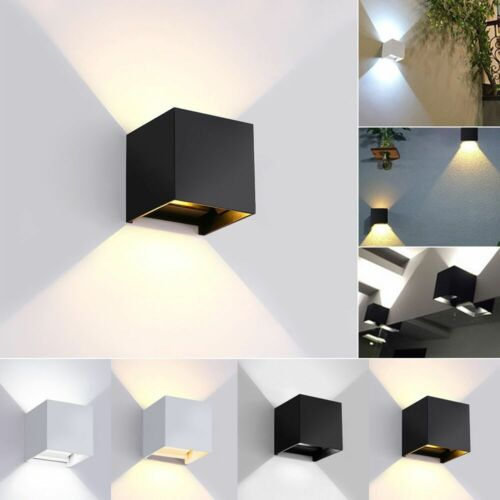 Modern LED Wall Light Waterproof Exterior Up Down Cube Sconc