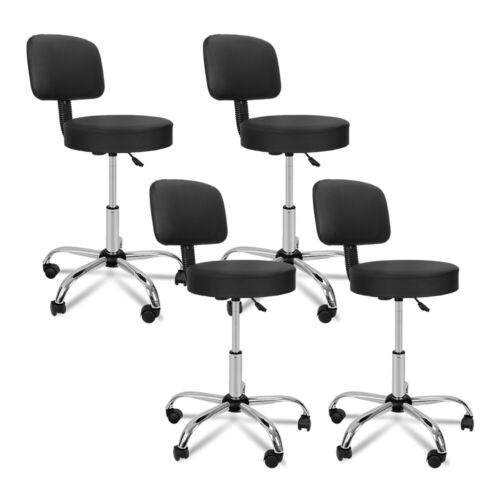 4X Rolling Beauty Salon Stool Chair Black Adjustable Hydraulic Swivel Spa W/Back Health & Beauty