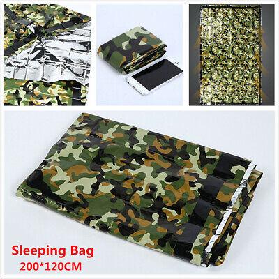 1X Camouflage Waterproof Reusable Emergency Sleeping Bag Thermal Camping -