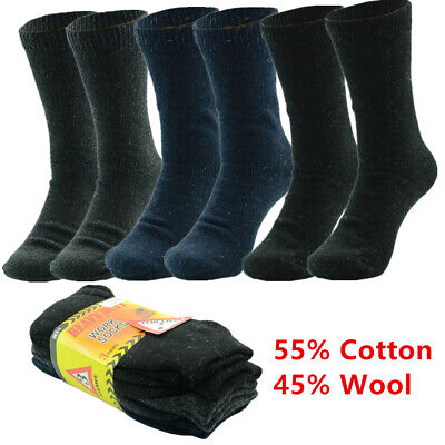 3 Pairs Mens Heavy Duty Winter Thermal Work Boots Wool Cotton Crew Socks 9-13