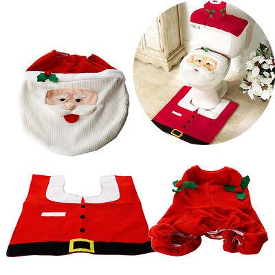 3Pcs/Set Xmas Santa Claus Bathroom Toilet Seat Cover Mat Christmas Home Decors   ()