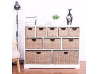 SALE!!! 10 Drawer Baskets White Wooden Hyacinth and Seagrass Baskets Cabinet Storage Unit ASSEMBLED