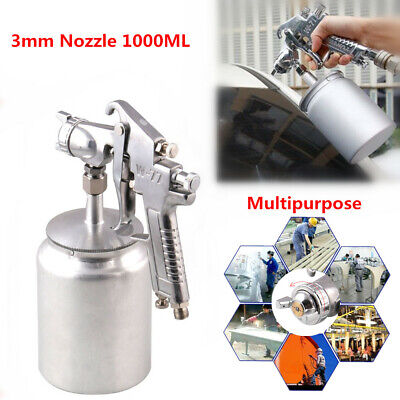 Suction Feed Paint Spray Gun 3mm Nozzle 1000ML Pot Sprayer Kit for Car Furniture