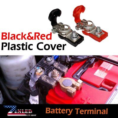 (Set of Classic Car Positive&Negative Battery Terminal W/ Red&Black Plastic Cover)