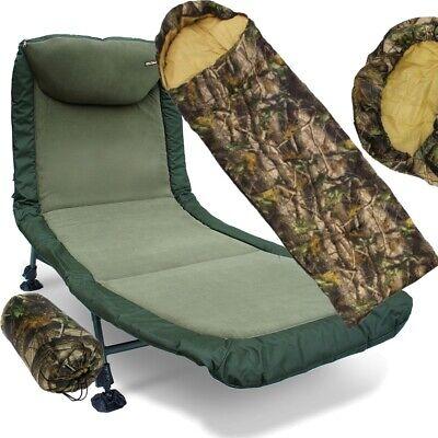 Carp Fishing BedChair 6 Legs & Camo Sleeping Bag Fishing Bed Night Fishing Set