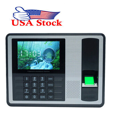 Us Ship 4 Inch Tft Attendance Machine Biometric Fingerprint Time Clock Reader