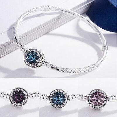 European Cat Eye S925 Silver Bracelet Snake Chain Bangle Fit charms pendant bead