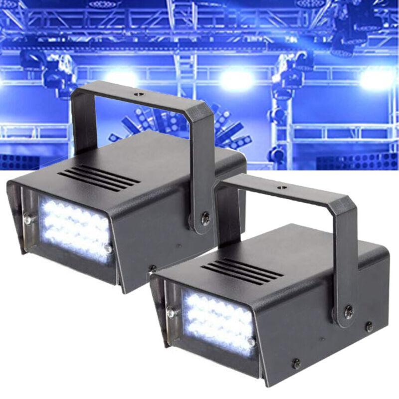 2 Mini DJ Strobe Light Flash Light Disco Club Party Stage Effect Lighting 24 LED