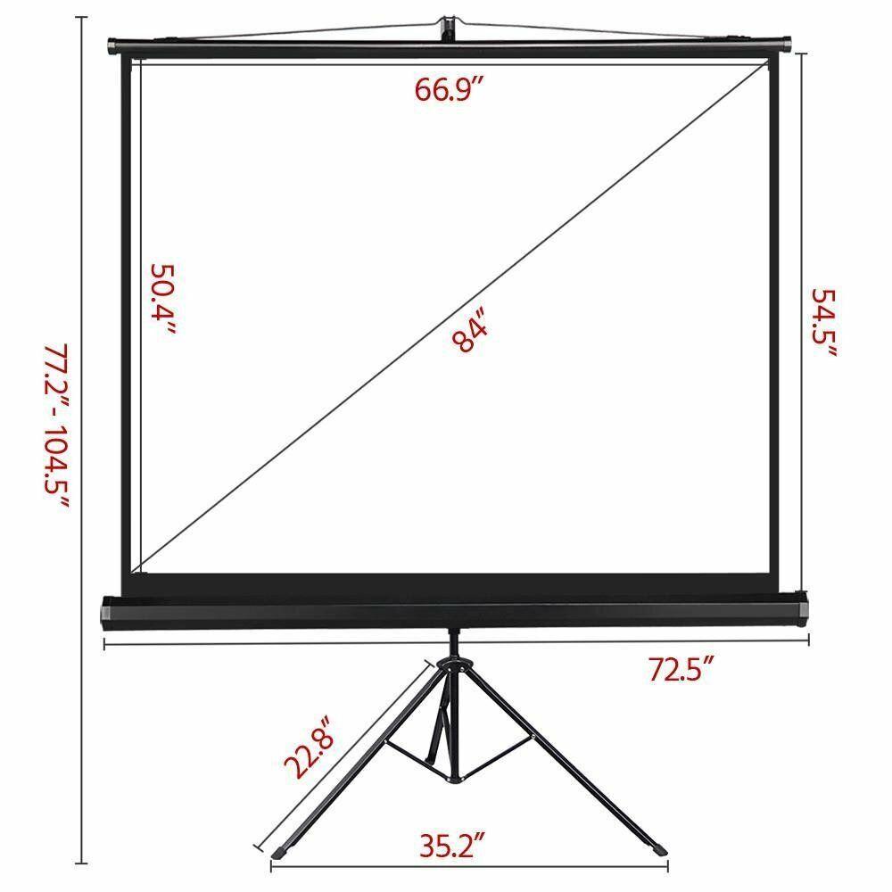 Portable Indoor Outdoor Projector Screen, 84 Inch Diagonal P