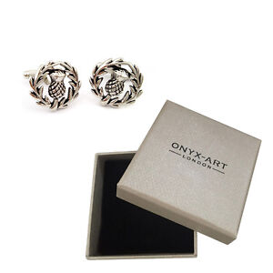 New Pair Of Silver Scottish Thistle Cufflinks & Gift Box by Onyx Art