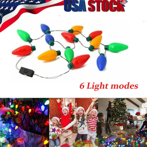 LED Light Up Bulb Necklace Party Home Decor Halloween Xmas Prop Gift Fashion Jewelry